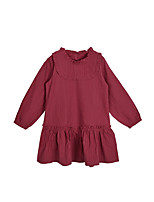 cheap -Girl's Daily Solid Dress, Cotton Spring Long Sleeves Simple Cute Wine