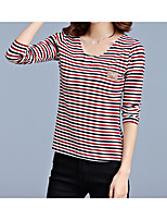 cheap -Women's T-shirt - Striped V Neck