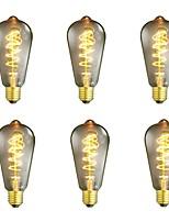 Недорогие -6шт 40 Вт E26/E27 ST64 Тёплый белый 2200-2700 К Ретро Диммируемая Декоративная Лампа накаливания Vintage Эдисон лампочка 220-240V V