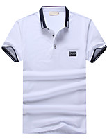 Недорогие -Муж. Спорт Polo Хлопок,Рубашечный воротник Тонкие Уличный стиль Однотонный