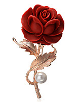 cheap -Women's Brooches Gold Plated Flower Red Bohemian Elegant European Jewelry Party Daily Costume Jewelry