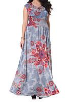 economico -Per donna Taglie forti Swing Vestito - Basic Con stampe, Fantasia floreale Maxi Vita alta