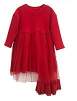 baratos -Menina de Vestido Diário Sólido Primavera Outono Algodão Manga Longa Simples Preto Vermelho