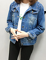 cheap -Women's Going out Street chic Denim Jacket - Solid Colored, Rivet