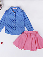 cheap -Girls' Daily Polka Dot Clothing Set, Cotton Polyester Spring Summer Long Sleeves Cute Active Blue
