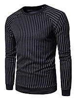 abordables -Homme Rayé Quotidien Sweatshirt Normal, Manches Longues Col Arrondi Printemps Automne