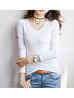 cheap -Women's Basic Cotton Slim T-shirt - Solid Colored V Neck