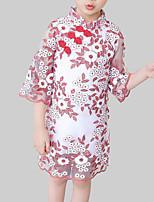 abordables -Vestido Chica de Diario Noche Floral Rayón Poliéster Manga 3/4 Primavera Otoño Tejido Oriental Rojo Morado