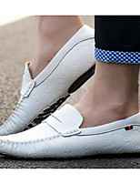 cheap -Men's Shoes Cowhide Spring Fall Comfort Loafers & Slip-Ons for Casual White Black Blue