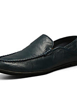 cheap -Men's Shoes Cowhide Spring Fall Comfort Loafers & Slip-Ons for Casual Black Brown Blue