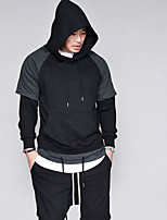cheap -Men's Going out Holiday Simple Solid Color Block Round Neck Hooded Hoodie Long, Long Sleeves Spring Fall