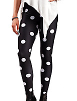 cheap -Women's Basic Legging - Polka Dot Mid Waist