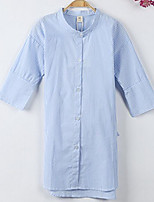 cheap -Girl's Daily School Striped Dress, Cotton Summer Long Sleeves Simple Blue