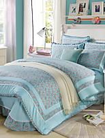 cheap -Duvet Cover Sets Floral 4 Piece Linen/Cotton Reactive Print Linen/Cotton 1pc Duvet Cover 2pcs Shams 1pc Flat Sheet