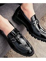 Недорогие -Муж. обувь Лакированная кожа Весна Осень Удобная обувь Мокасины и Свитер для Повседневные Черный Синий Вино