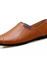 Недорогие -Муж. обувь Кожа Весна Осень Мокасины Мокасины и Свитер для Повседневные Черный Темно-синий Коричневый
