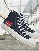 baratos -Homens Unisexo sapatos Lona Primavera Outono Conforto Tênis para Casual Branco Preto