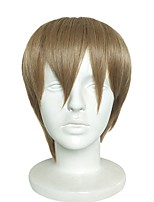 cheap -Synthetic Wig Yaki Straight Bob Haircut Natural Hairline Brown Men's Capless Halloween Wig Short Synthetic Hair