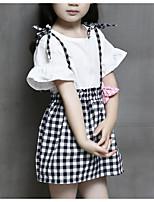 Недорогие -Девочки Повседневные Праздники Однотонный Шахматка Набор одежды, Хлопок Полиэстер Лето С короткими рукавами Очаровательный Классический