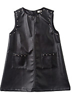 cheap -Girl's Party Holiday Solid Dress, PU Spring Fall Sleeveless Punk & Gothic Street chic Black