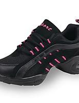 cheap -Women's Dance Sneakers Tulle Canvas Sneaker Outdoor Splicing Low Heel Black 1 - 1 3/4 Customizable