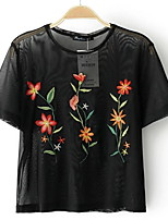 cheap -Women's Basic T-shirt - Solid Colored Embroidered