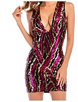 abordables -Femme Moulante Gaine Robe - Basique, Couleur Pleine Taille haute V Profond Mini