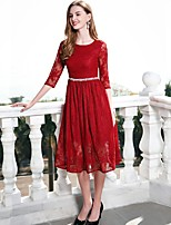 cheap -Women's Vintage Basic Sophisticated Slim A Line Sheath Dress - Solid Color, Lace High Waist