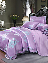 cheap -Duvet Cover Sets Floral 4 Piece Silk/Cotton Blend Jacquard Silk/Cotton Blend 1pc Duvet Cover 2pcs Shams 1pc Flat Sheet