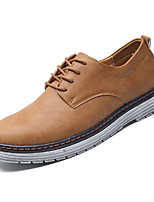 cheap -Men's Shoes Nappa Leather Spring Fall Comfort Oxfords for Outdoor Black Gray Khaki