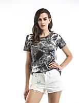 cheap -Women's Slim T-shirt - Floral Color Block, Print