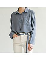 cheap -Women's Street chic Cotton Shirt - Solid Colored Shirt Collar