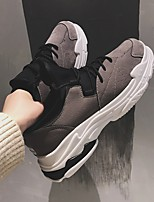 Недорогие -Муж. обувь Свиная кожа Весна Удобная обувь Кеды для Повседневные Черный Серый