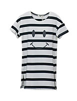 cheap -Girl's Daily Striped Dress, Cotton Polyester Summer Short Sleeves Simple White