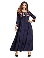 cheap -SHE IN SUN Women's Swing Dress - Floral Color Block Basic Embroidered Maxi