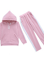 cheap -Girls' Daily Striped Clothing Set, Polyester Spring Long Sleeves Active Blushing Pink