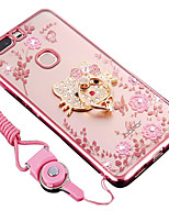 cheap -Case For Huawei Honor V9 Shockproof Rhinestone with Stand Back Cover Flower Soft TPU for Huawei Honor V8
