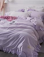 abordables -Ensembles housse de couette Couleur Pleine 4 Pièces Polyester/Coton Teinture Polyester/Coton 1 x Housse de couette 2 x Taies d'oreiller