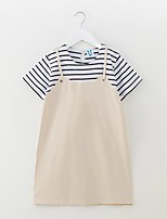 cheap -Girl's Daily Striped Dress Summer Short Sleeves Simple Beige