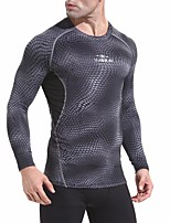 cheap -Men's Running T-Shirt Long Sleeve Breathability T-shirt for Exercise & Fitness Polyester Black / Grey L / XL / XXL
