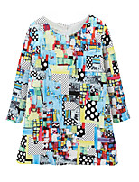cheap -Girl's Daily Galaxy Color Block Dress, Cotton Linen Bamboo Fiber Acrylic Spring Long Sleeves Simple Vintage Blue