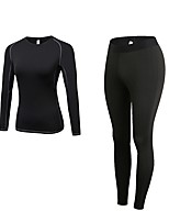 cheap -Women's Activewear Set Long Sleeves Long Pant Breathability Clothing Suits for Jogging Polyester White Black Blue Red/White Grey S M L XL