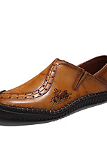 Недорогие -Муж. обувь Дерматин Кожа Весна Лето Удобная обувь Мокасины и Свитер Для прогулок для Повседневные Черный Желтый Темно-коричневый