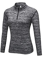 abordables -Femme Sweatshirt Manches Longues Respirabilité Haut Zippé pour Exercice & Fitness Polyester Bleu / Gris / Bourgogne L / XL / XXL