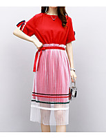 cheap -Women's Plus Size Flare Sleeve Cotton Set - Solid Colored, Pleated Skirt