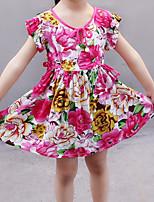 Недорогие -Девочки Активный Праздники Цветочный принт С короткими рукавами Платье