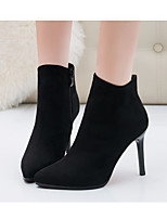 cheap -Women's Shoes Nubuck leather Fall Winter Bootie Comfort Boots Stiletto Heel Booties/Ankle Boots for Casual Black Khaki