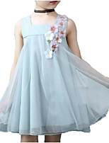 cheap -Girl's Daily Holiday Solid Colored Floral Dress, Cotton Polyester Summer Sleeveless Cute Basic Blue Blushing Pink
