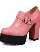 Недорогие -Жен. Обувь Искусственное волокно Весна Осень Оригинальная обувь Удобная обувь Обувь на каблуках На толстом каблуке Круглый носок Пряжки