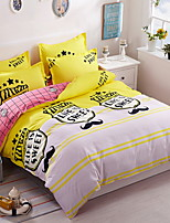 cheap -Duvet Cover Sets Floral Cartoon 3 Piece Poly/Cotton 100% Cotton Reactive Print Poly/Cotton 100% Cotton 1pc Duvet Cover 1pc Sham 1pc Flat
